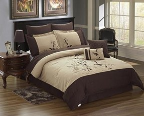 Homehug® 1800 Thread Count 8Pc Bedding Comforter Sets Exquisite Tree Leaves 100% Polyester Embroidery Pattern Coffee Color