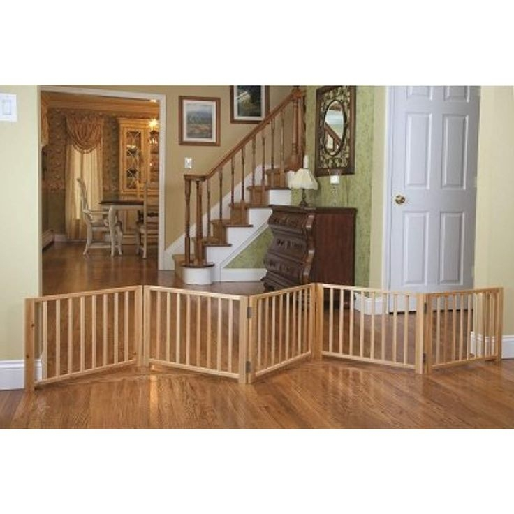 Indoor pet fence free standing walk over panel wood folding