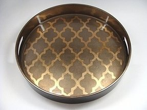 J Fleet Designs Arabesque Espresso/Coffee Round Tray