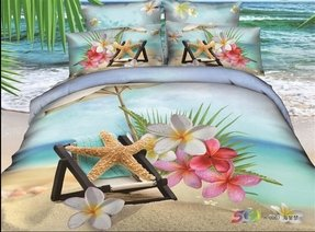 Joubuy 3d Blue Bedding Beach Bedding Queen Beach Theme Bedding 3d Bedding Set Beach Duvet Cover Set 100 Percent Cotton 4pcs