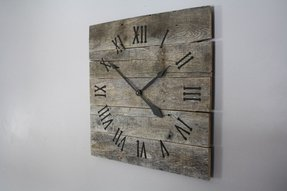 Large rustic wall clock reclaimed gray
