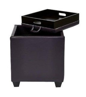 Leather storage ottoman with tray