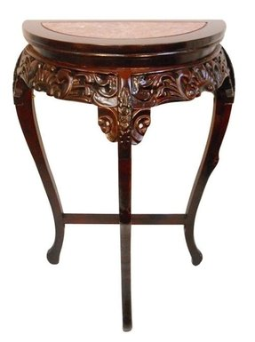 Marble Top Half Moon Floral Carved Wooden Hall Table