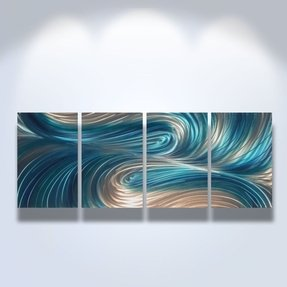 Metal wall art modern home decor abstract artwork sculpture echo 3 blues
