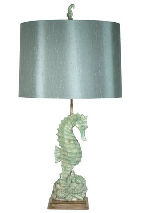 "Nautical of Seahorse and Shells 32"" H Table Lamp with Drum Shade"