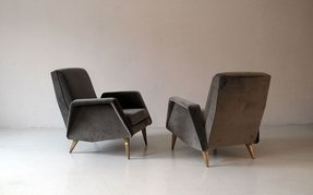 Pair of french 1940s mid century club chairs