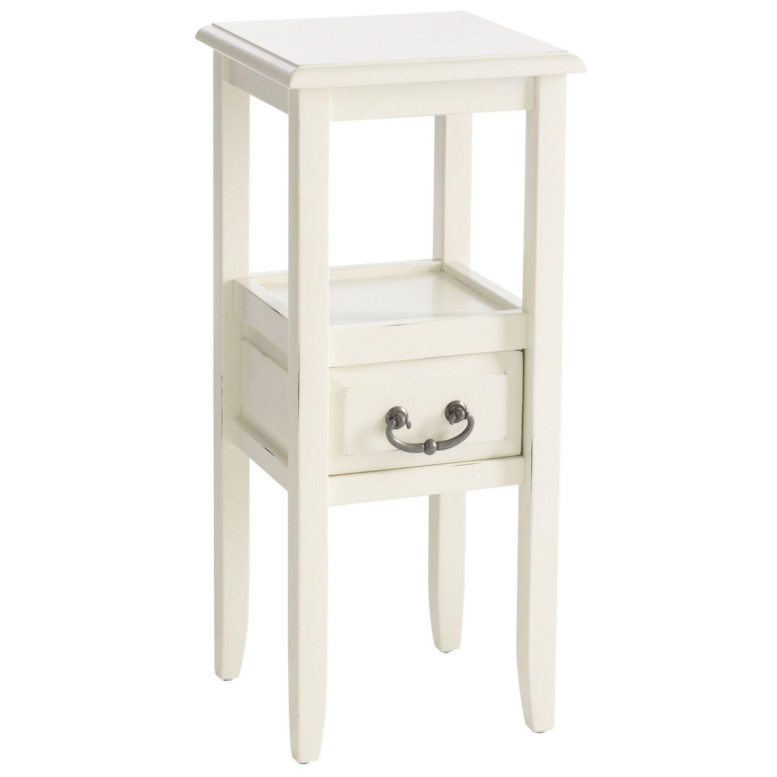 Pedestal Side Table White
