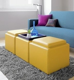 Red Storage Ottoman Cube