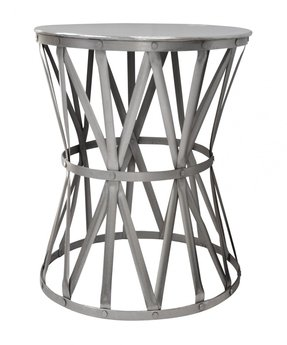Round nickel drum side table industrial metal iron end table