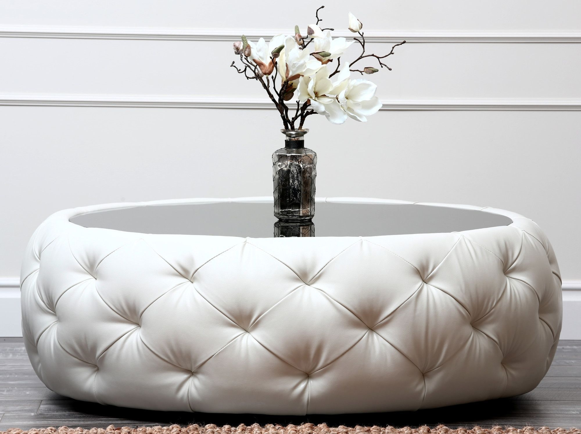 Superbe Round Tufted Ottoman Coffee Table 1
