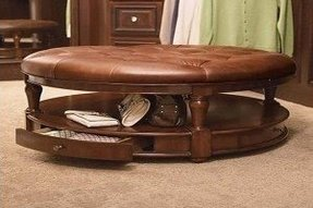 Round tufted ottoman coffee table 2