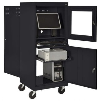 "Sandusky SFDJG2663 Steel Flat Screen Mobile Computer Security Workstation, 150 lbs Capacity, 26"" Width by 63"" Height by 24"" Depth"