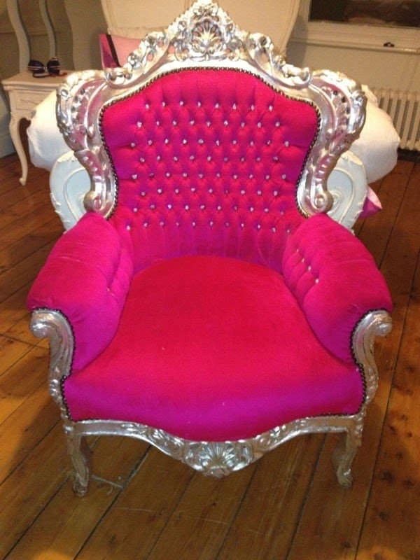 Superbe Silver Vanity Chair. Hot Pink Dining Chairs