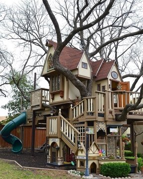 The ultimate tree house for kids equipped with a climbing