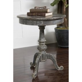 Uttermost cadey distressed reclaimed wood round pedestal accent side end