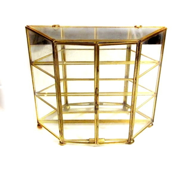 Vintage glass display box brass mirrored