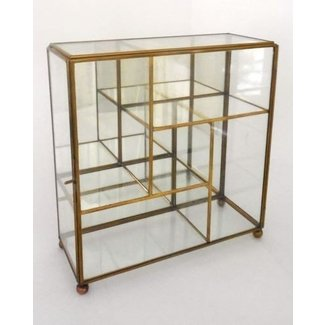 Vntg Br Gl Mirror Table Top Wall Curio Small Display