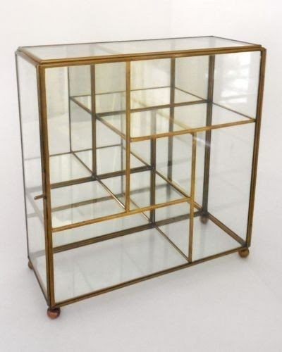 Vntg Brass Glass Mirror Table Top Wall Curio Small Display