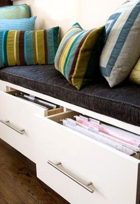 Window seat from ikea cabinets