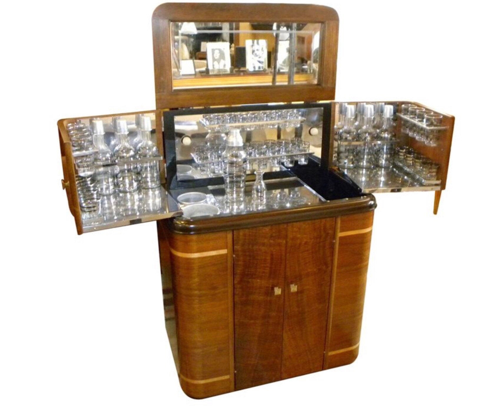 1930s american art deco radio bar o radiobar glasses complete