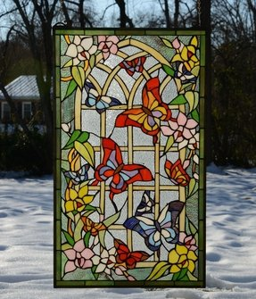 20 x 34 butterfly flower garden tiffany style stained glass