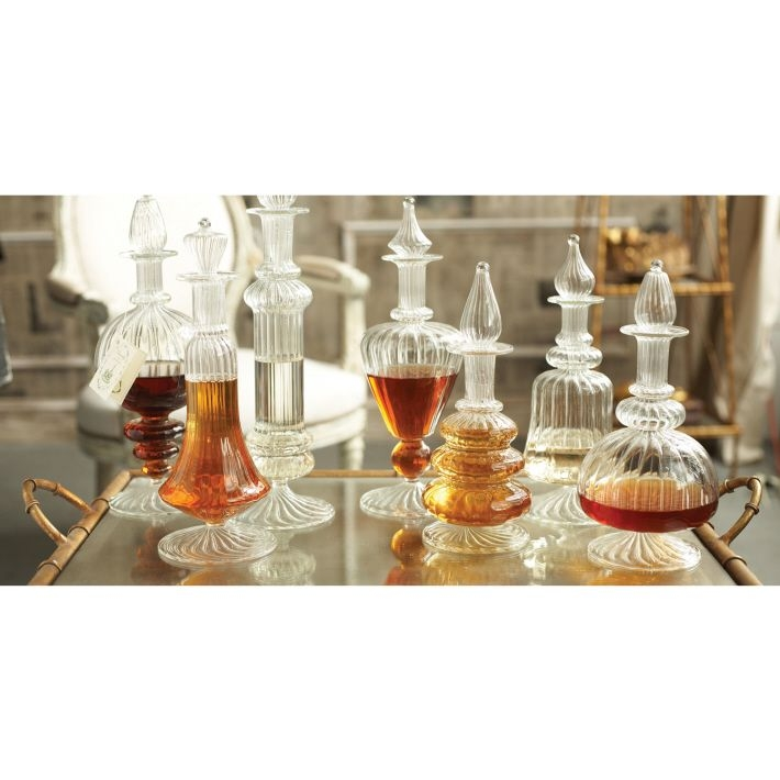 Chantilly Set Of Seven Hand Blown Glass Decanters