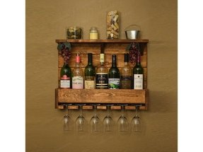 Country rustic wood 7 bottle wine rack