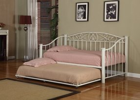 Cream White Finish Metal Twin Size Day Bed (Daybed) Frame With Metal Slats