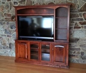 Custom maple entertainment center built according to customers design and