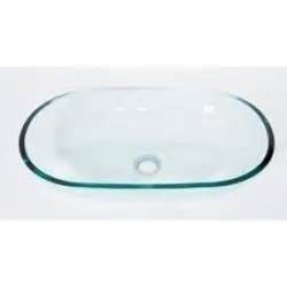 Denovo clear elongated oval glass vessel sink