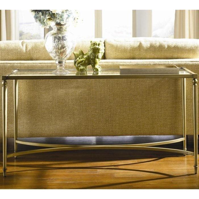 Attractive Elipse Sofa Table In Champagne With Glass Top Nebraska Furniture