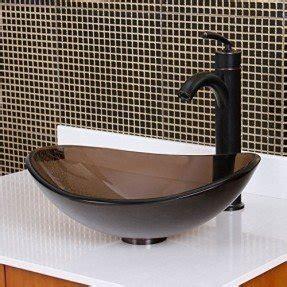 ELITE Unique Oval Clear Brown Bathroom Glass Vessel Sink U0026 Oil Rubbed  Bronze Finish Faucet