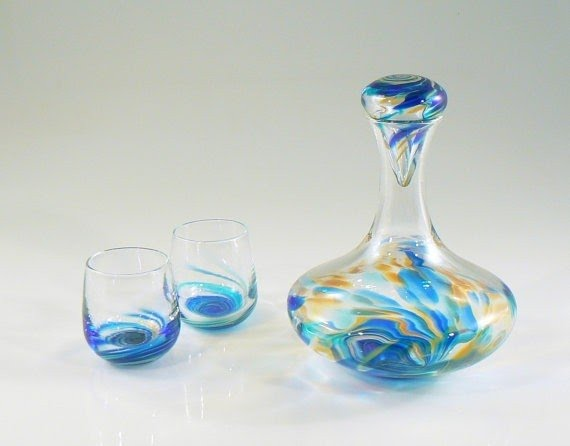 Hand Blown Glass Wine Decanter Set With