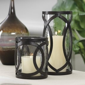 Iron hurricane candle holders