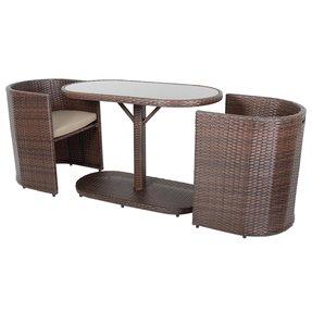 Latina Brown Bistro Set Gl Top Table 2 Chairs Rattan