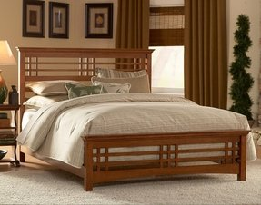 Mission Style Sleigh Bed