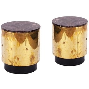 Pair of brass drum side tables