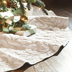 Quilted damask matelasse natural white christmas tree skirt perfect for
