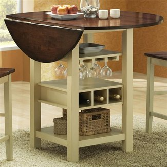 Round counter height table with leaf