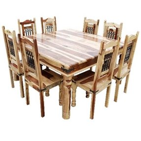 Rustic square dining table and chair set seat 8 person
