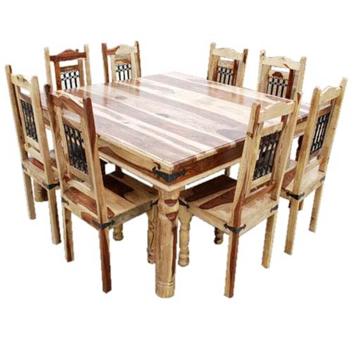 Attrayant Rustic Square Dining Table And Chair Set Seat 8 Person
