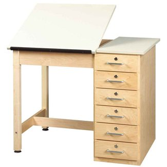 Shain split top drafting table with drawer base contemporary desks