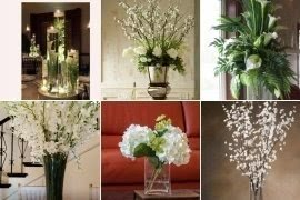 Silk flower arrangements in vases