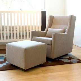 Swivel glider rocker chair with ottoman