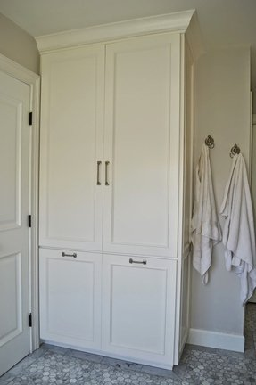 Tall Bathroom Storage Cabinet With Laundry Bin