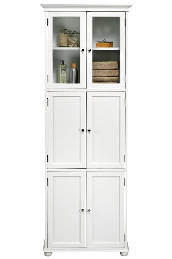 White Bathroom Cabinet Storage Unit Door Tall Cupboard 4 Shelves Home Furniture