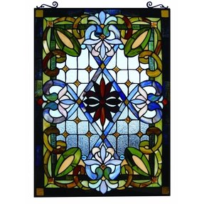 Tiffany style stained glass window panel colorful victorian design great