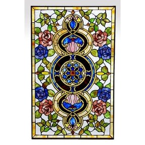 Tiffany style stained glass window panel very colorful floral medallion