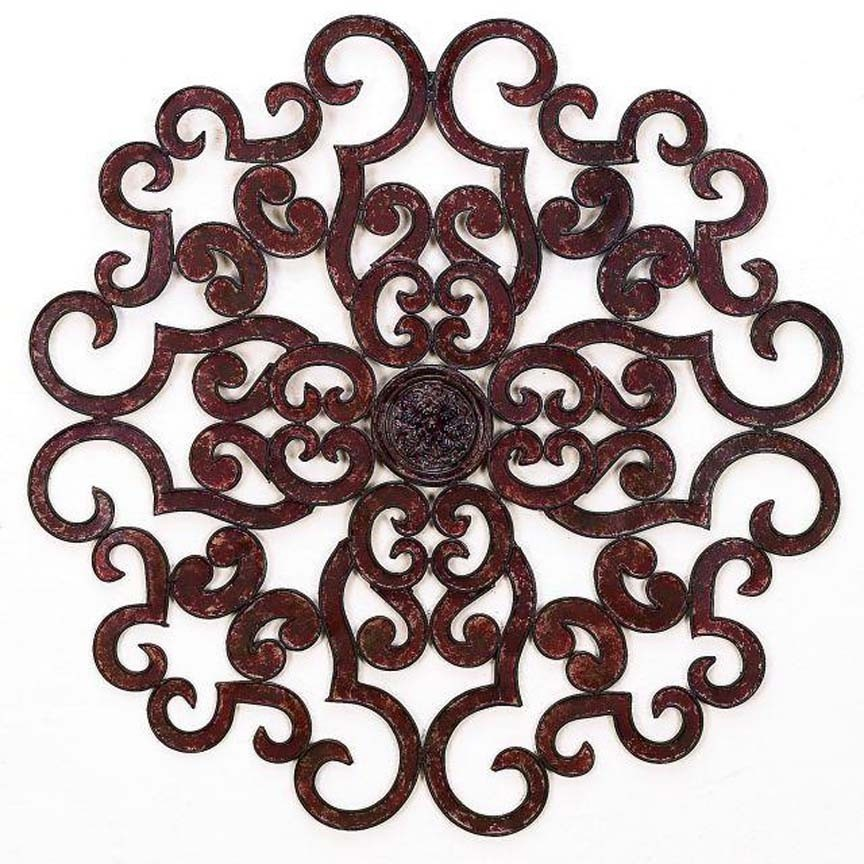 Tuscan Large 50 Scroll Iron Wall Medallion Round Grille Art Horchow
