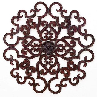 Tuscan large 50 scroll iron wall medallion round grille art